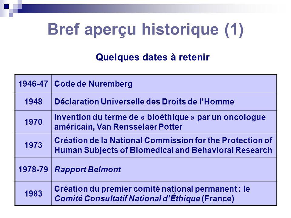 Bref aperçu historique (1) 1946-47Code de Nuremberg 1948Déclaration Universelle des Droits de lHomme 1970 Invention du terme de « bioéthique » par un