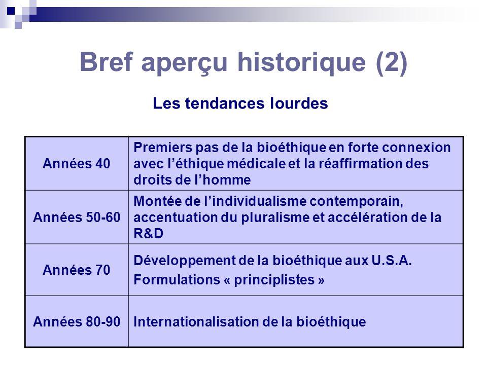 Bref aperçu historique (2) Les tendances lourdes Années 40 Premiers pas de la bioéthique en forte connexion avec léthique médicale et la réaffirmation