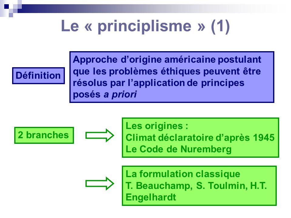Le « principlisme » (1) Définition Approche dorigine américaine postulant que les problèmes éthiques peuvent être résolus par lapplication de principe