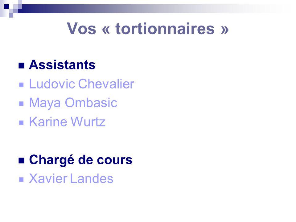 Vos « tortionnaires » Assistants Ludovic Chevalier Maya Ombasic Karine Wurtz Chargé de cours Xavier Landes