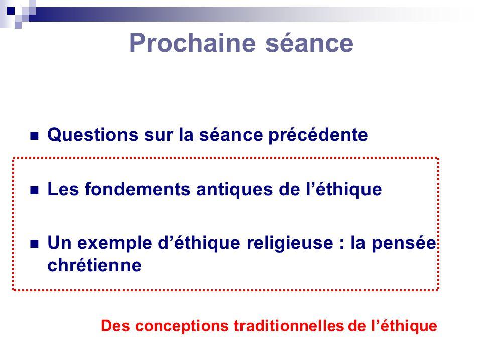 Prochaine séance Questions sur la séance précédente Les fondements antiques de léthique Un exemple déthique religieuse : la pensée chrétienne Des conc