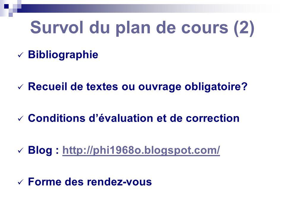 Survol du plan de cours (2) Bibliographie Recueil de textes ou ouvrage obligatoire? Conditions dévaluation et de correction Blog : http://phi1968o.blo