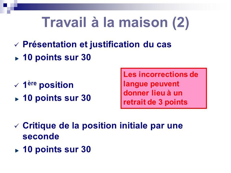 Travail à la maison (2) Présentation et justification du cas 10 points sur 30 1 ère position 10 points sur 30 Critique de la position initiale par une