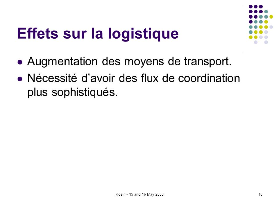 Koeln - 15 and 16 May 200310 Effets sur la logistique Augmentation des moyens de transport. Nécessité davoir des flux de coordination plus sophistiqué