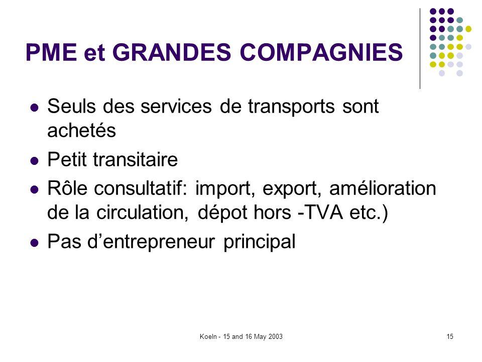 Koeln - 15 and 16 May 200315 PME et GRANDES COMPAGNIES Seuls des services de transports sont achetés Petit transitaire Rôle consultatif: import, expor