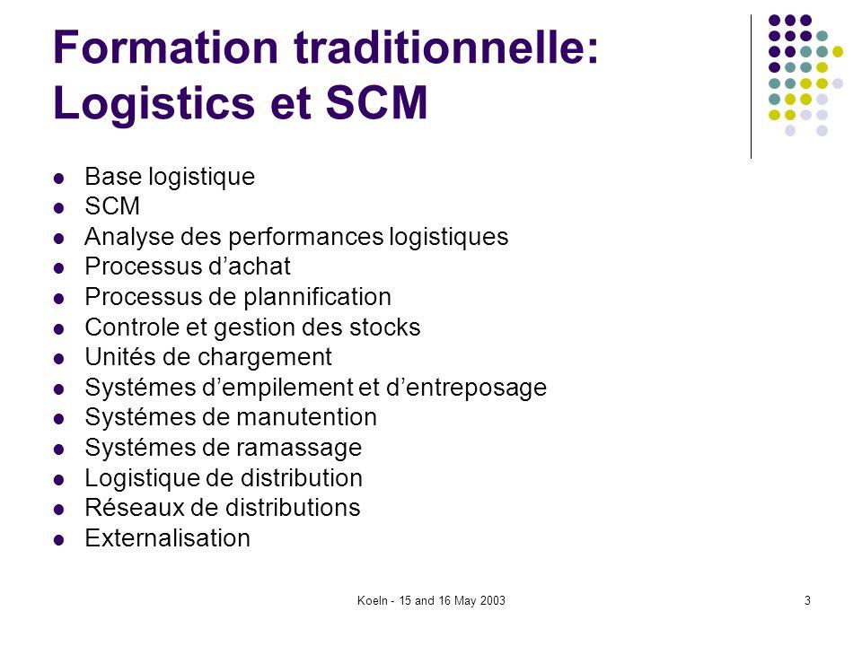 Koeln - 15 and 16 May 20033 Formation traditionnelle: Logistics et SCM Base logistique SCM Analyse des performances logistiques Processus dachat Proce