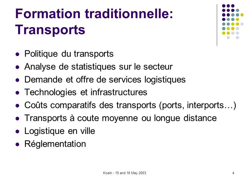 Koeln - 15 and 16 May 20034 Formation traditionnelle: Transports Politique du transports Analyse de statistiques sur le secteur Demande et offre de se