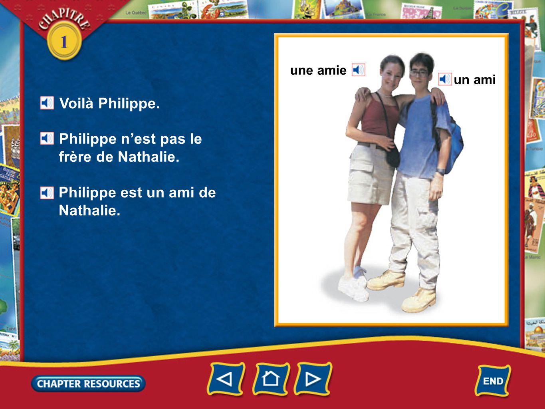 1 une amie un ami Voilà Philippe. Philippe nest pas le frère de Nathalie. Philippe est un ami de Nathalie.