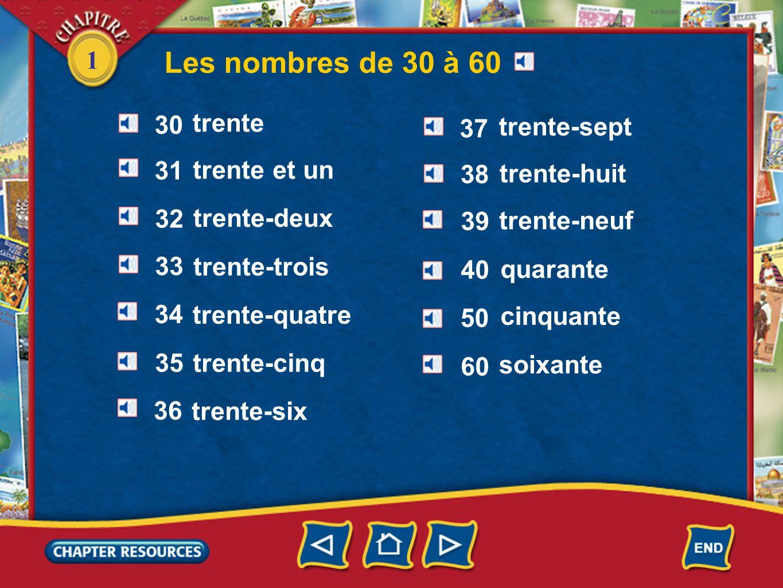 1 Les nombres de 30 à 60 trente trente et un trente-deux trente-trois trente-quatre trente-cinq trente-six trente-sept trente-huit trente-neuf quarant