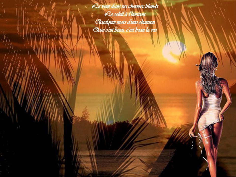 Le vent dans tes cheveux blonds Le soleil à l horizon Quelques mots d une chanson Que c est beau, c est beau la vie