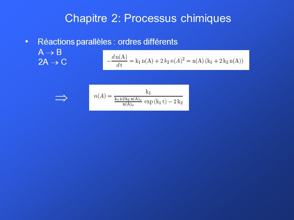 Chapitre 2: Processus chimiques Réactions parallèles : ordres différents A B 2A C