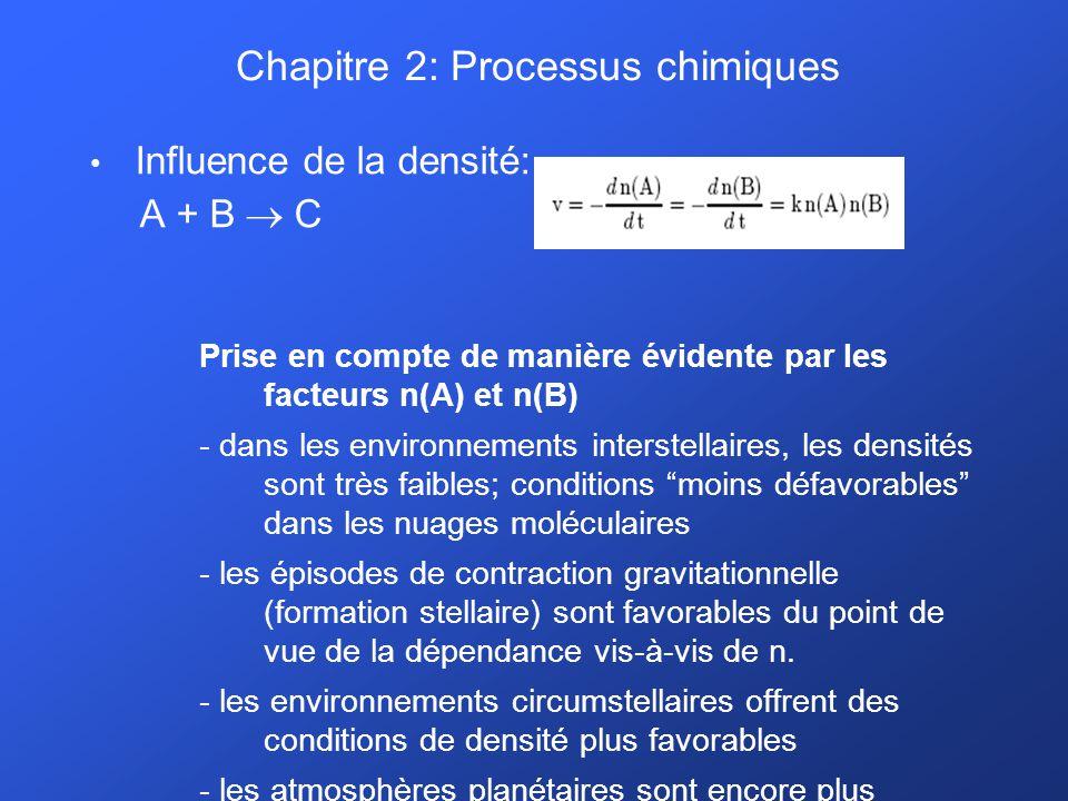 Chapitre 2: Processus chimiques Influence de la densité: A + B C Prise en compte de manière évidente par les facteurs n(A) et n(B) - dans les environnements interstellaires, les densités sont très faibles; conditions moins défavorables dans les nuages moléculaires - les épisodes de contraction gravitationnelle (formation stellaire) sont favorables du point de vue de la dépendance vis-à-vis de n.