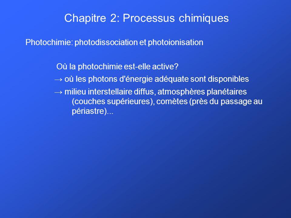 Chapitre 2: Processus chimiques Photochimie: photodissociation et photoionisation Où la photochimie est-elle active? où les photons d'énergie adéquate