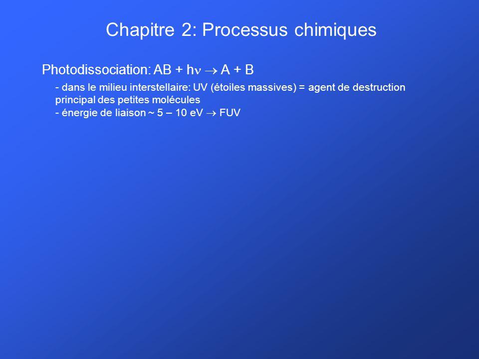 Chapitre 2: Processus chimiques Photodissociation: AB + h A + B - dans le milieu interstellaire: UV (étoiles massives) = agent de destruction principa