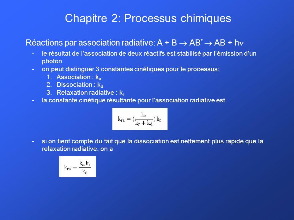 Chapitre 2: Processus chimiques Réactions par association radiative: A + B AB * AB + h -le résultat de lassociation de deux réactifs est stabilisé par lémission dun photon -on peut distinguer 3 constantes cinétiques pour le processus: 1.Association : k a 2.Dissociation : k d 3.Relaxation radiative : k r -la constante cinétique résultante pour lassociation radiative est -si on tient compte du fait que la dissociation est nettement plus rapide que la relaxation radiative, on a