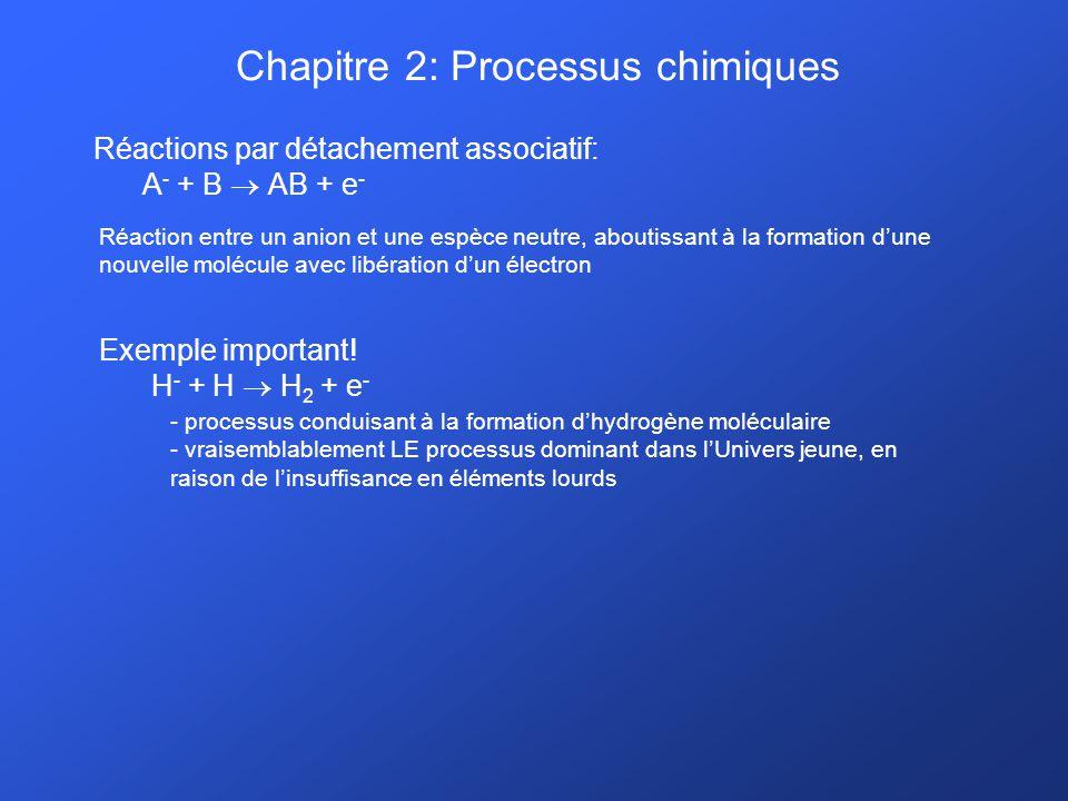 Chapitre 2: Processus chimiques Réactions par détachement associatif: A - + B AB + e - Réaction entre un anion et une espèce neutre, aboutissant à la
