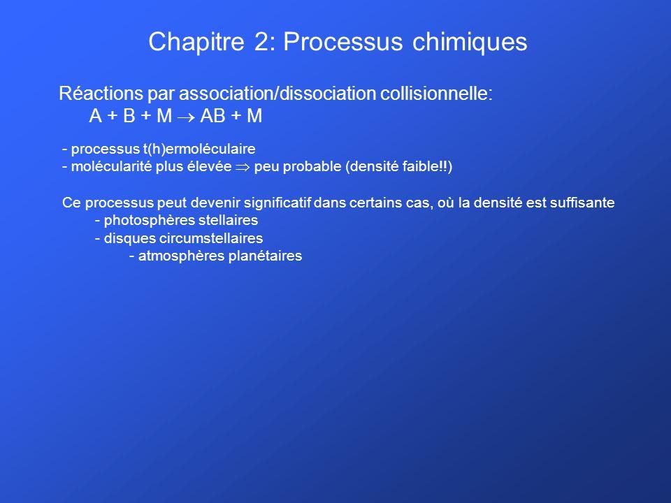Chapitre 2: Processus chimiques Réactions par association/dissociation collisionnelle: A + B + M AB + M - processus t(h)ermoléculaire - molécularité p