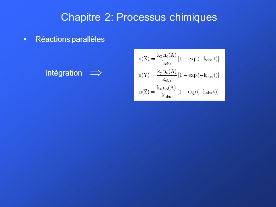 Chapitre 2: Processus chimiques Récapitulons: réactions parallèles et consécutives simples Equations cinétiques de complexité rapidement croissante Expressions analytiques des densités de complexité très rapidement croissante … alors que des situations simples sont envisagées, et un nombre très limité de processus élémentaires (2, 3,…) est considéré.