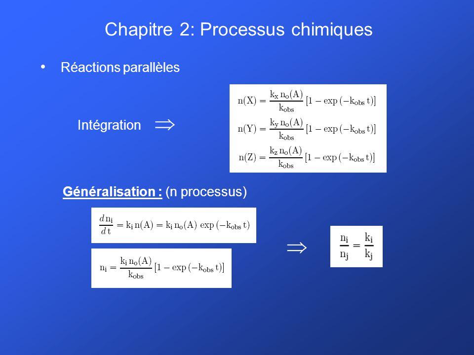 Chapitre 2: Processus chimiques Réactions par association radiative: A + B AB * AB + h -le résultat de lassociation de deux réactifs est stabilisé par lémission dun photon -on peut distinguer 3 constantes cinétiques pour le processus: 1.Association : k a 2.Dissociation : k d 3.Relaxation radiative : k r -la constante cinétique résultante pour lassociation radiative est