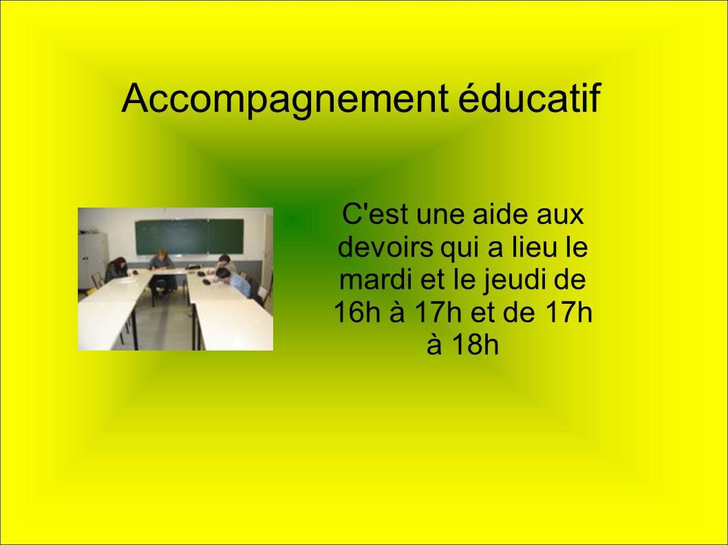 Accompagnement éducatif C'est une aide aux devoirs qui a lieu le mardi et le jeudi de 16h à 17h et de 17h à 18h