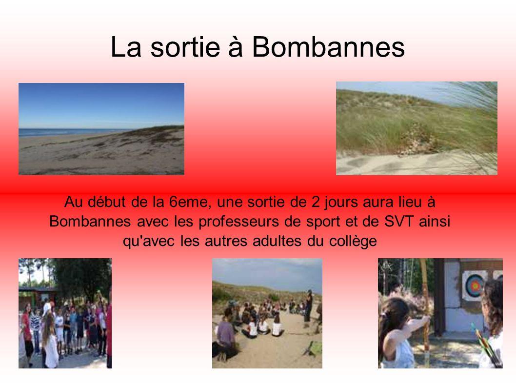 La sortie à Bombannes Au début de la 6eme, une sortie de 2 jours aura lieu à Bombannes avec les professeurs de sport et de SVT ainsi qu'avec les autre
