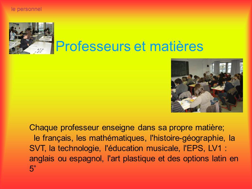 Professeurs et matières le personnel Chaque professeur enseigne dans sa propre matière; le français, les mathématiques, l'histoire-géographie, la SVT,