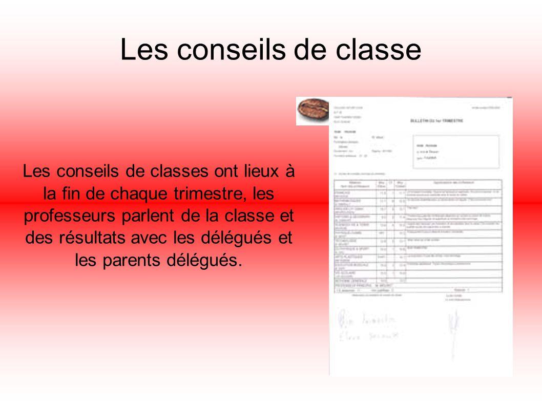 Les conseils de classe Les conseils de classes ont lieux à la fin de chaque trimestre, les professeurs parlent de la classe et des résultats avec les