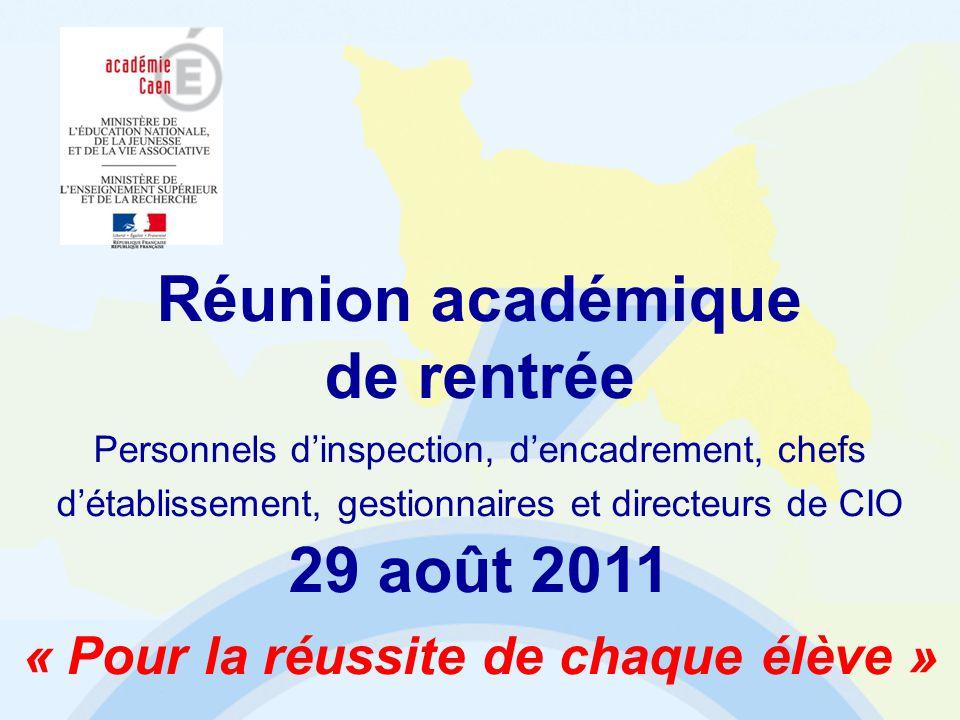 Ordre du jour 1.Les résultats de lacadémie 2.Le projet académique 2011-2015 3.Les dossiers de lannée Réunion académique de rentrée 2011