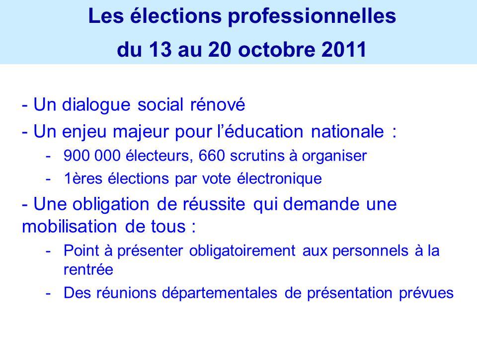 - Un dialogue social rénové - Un enjeu majeur pour léducation nationale : -900 000 électeurs, 660 scrutins à organiser -1ères élections par vote élect