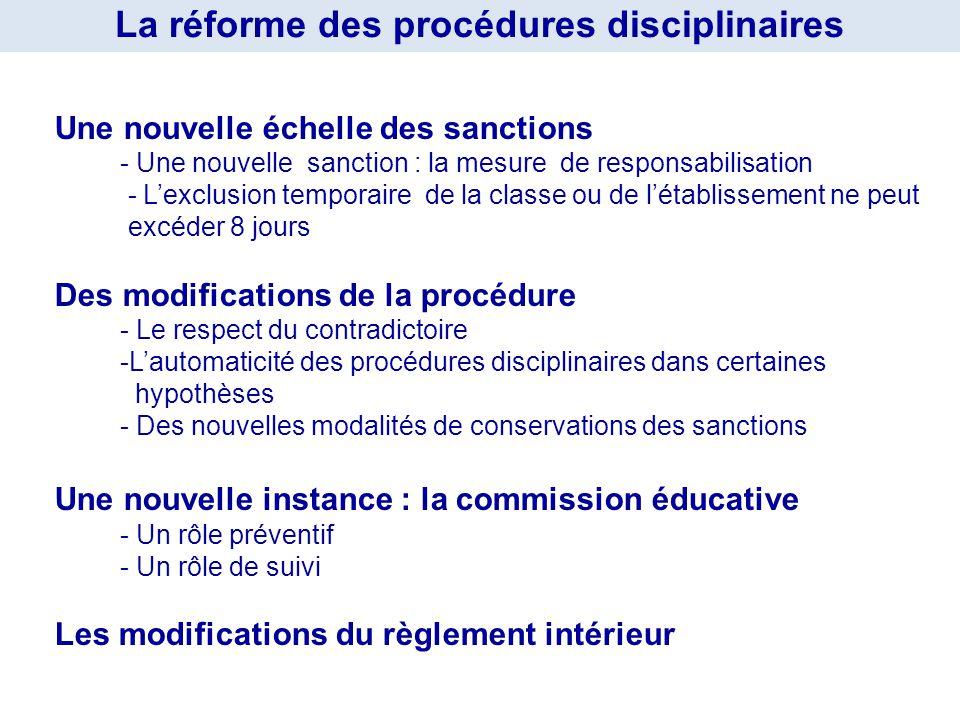 Une nouvelle échelle des sanctions - Une nouvelle sanction : la mesure de responsabilisation - Lexclusion temporaire de la classe ou de létablissement