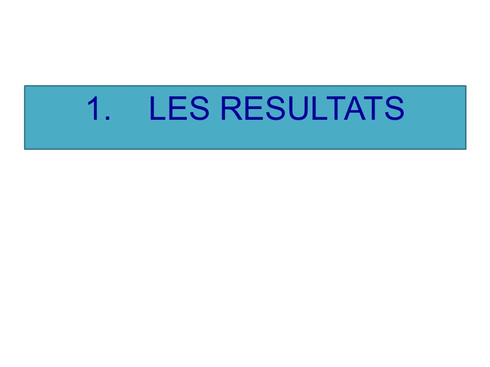 1. LES RESULTATS