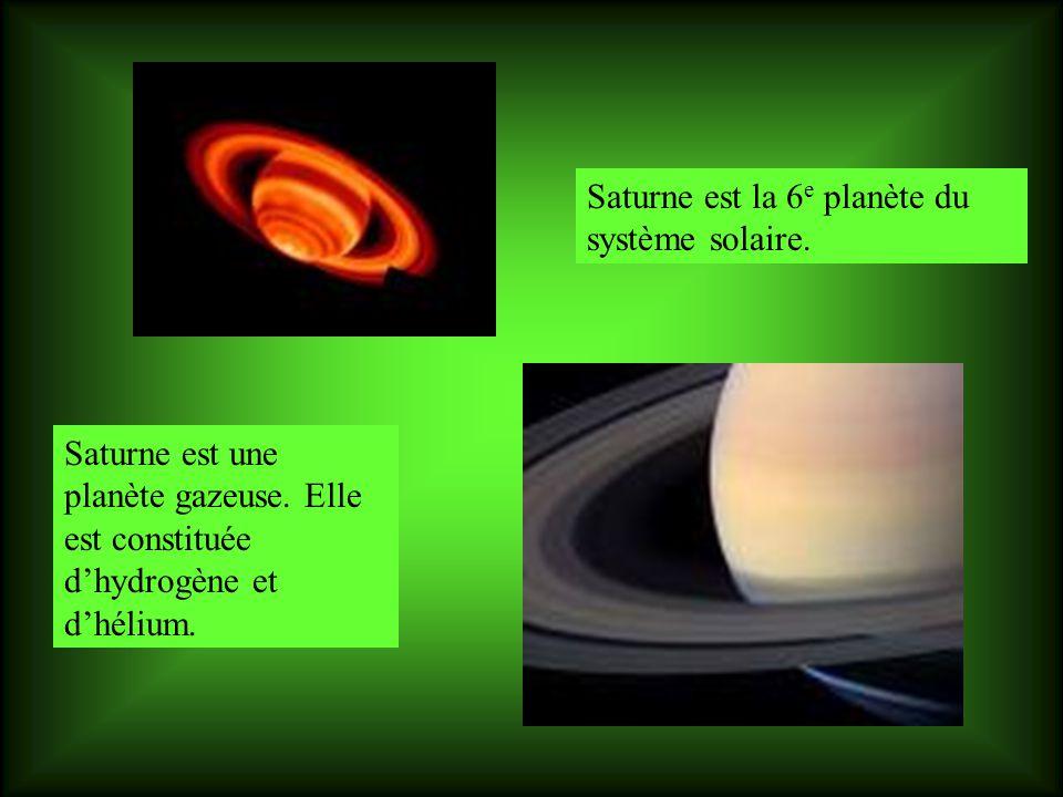 Saturne est la 6 e planète du système solaire.Saturne est une planète gazeuse.