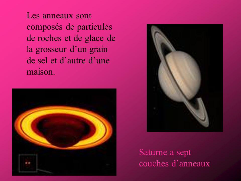 Saturne est la 6 e planète du système solaire. Saturne est une planète gazeuse. Elle est constituée dhydrogène et dhélium.