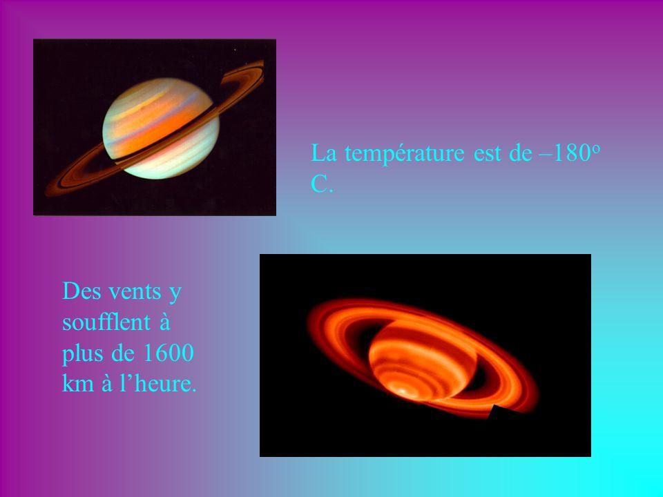 Saturne prend 29,4 années à faire le tour du Soleil. Sur Saturne, une journée dure 10 heures et 40 minutes. Saturne est à 1,4 milliards de km du Solei