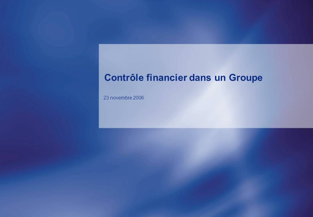 Contrôle financier dans un Groupe 23 novembre 2006