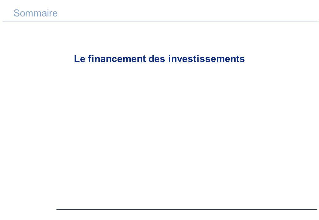 Sommaire Le financement des investissements
