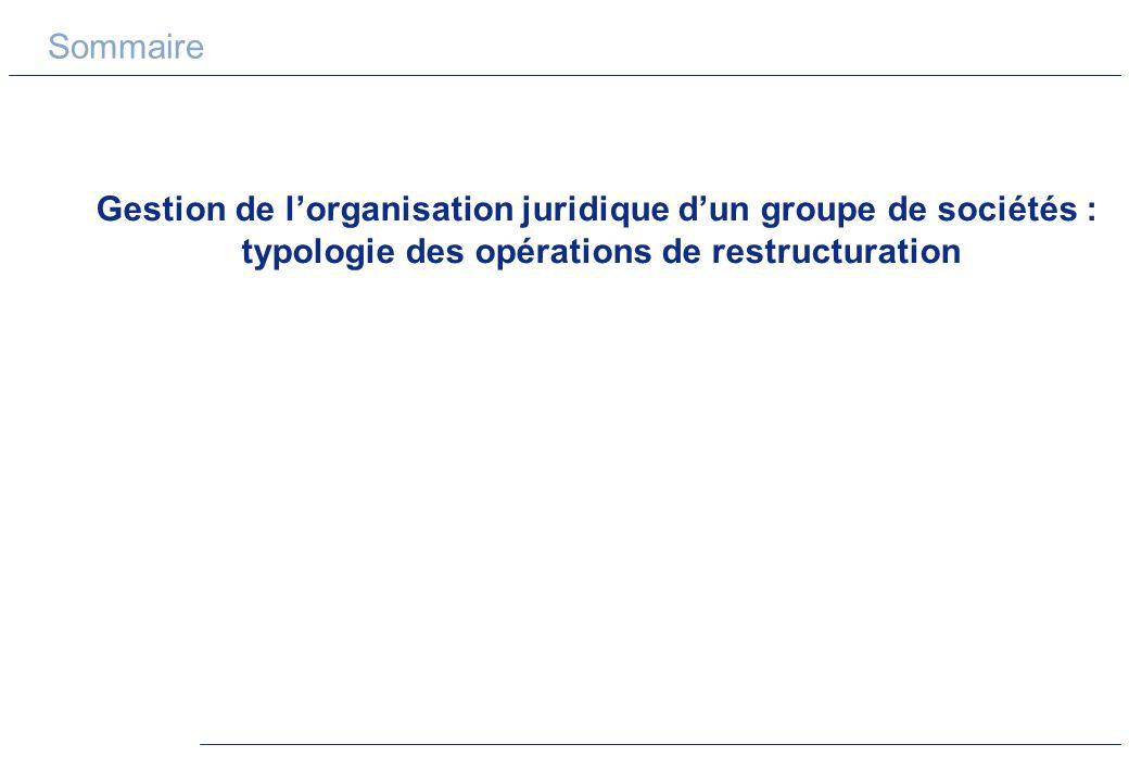 Sommaire Gestion de lorganisation juridique dun groupe de sociétés : typologie des opérations de restructuration