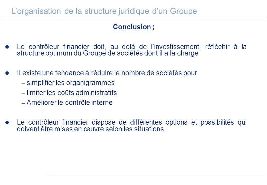 Lorganisation de la structure juridique dun Groupe Conclusion ; Le contrôleur financier doit, au delà de linvestissement, réfléchir à la structure opt
