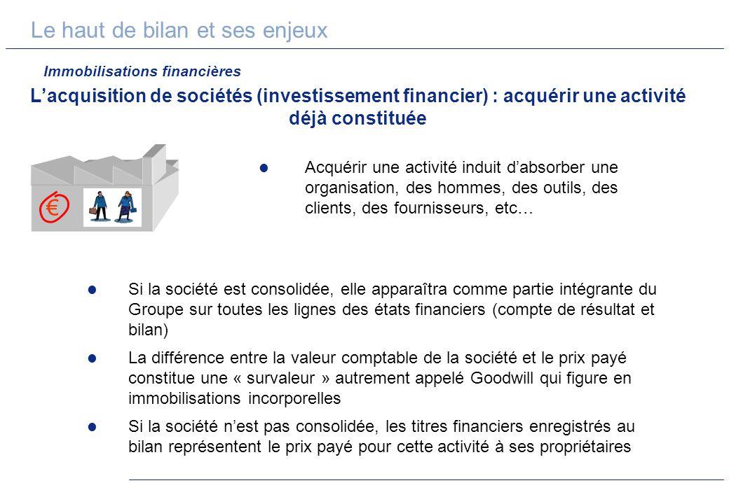 Le haut de bilan et ses enjeux Lacquisition de sociétés (investissement financier) : acquérir une activité déjà constituée Acquérir une activité indui
