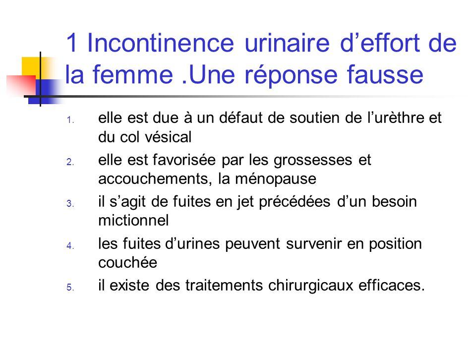 1 Incontinence urinaire deffort de la femme.Une réponse fausse 1. elle est due à un défaut de soutien de lurèthre et du col vésical 2. elle est favori