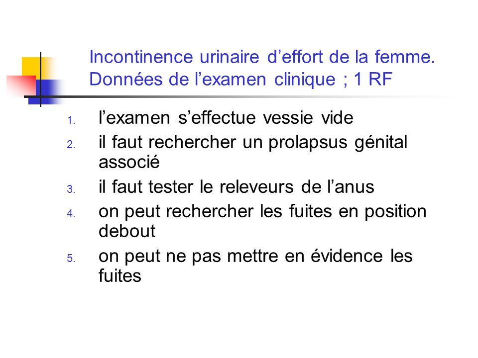 Incontinence urinaire deffort de la femme. Données de lexamen clinique ; 1 RF 1. lexamen seffectue vessie vide 2. il faut rechercher un prolapsus géni