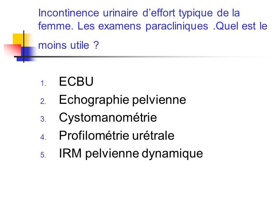 Incontinence urinaire deffort typique de la femme. Les examens paracliniques.Quel est le moins utile ? 1. ECBU 2. Echographie pelvienne 3. Cystomanomé