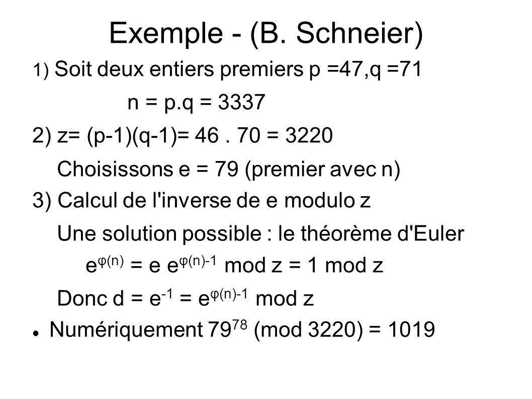Exemple - (B. Schneier) 1) Soit deux entiers premiers p =47,q =71 n = p.q = 3337 2) z= (p-1)(q-1)= 46. 70 = 3220 Choisissons e = 79 (premier avec n) 3