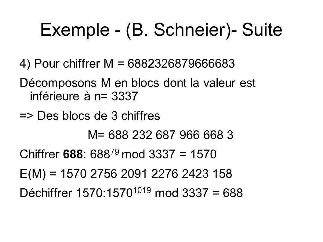Exemple - (B. Schneier)- Suite 4) Pour chiffrer M = 6882326879666683 Décomposons M en blocs dont la valeur est inférieure à n= 3337 => Des blocs de 3