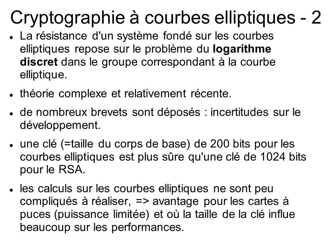 Cryptographie à courbes elliptiques - 2 La résistance d'un système fondé sur les courbes elliptiques repose sur le problème du logarithme discret dans