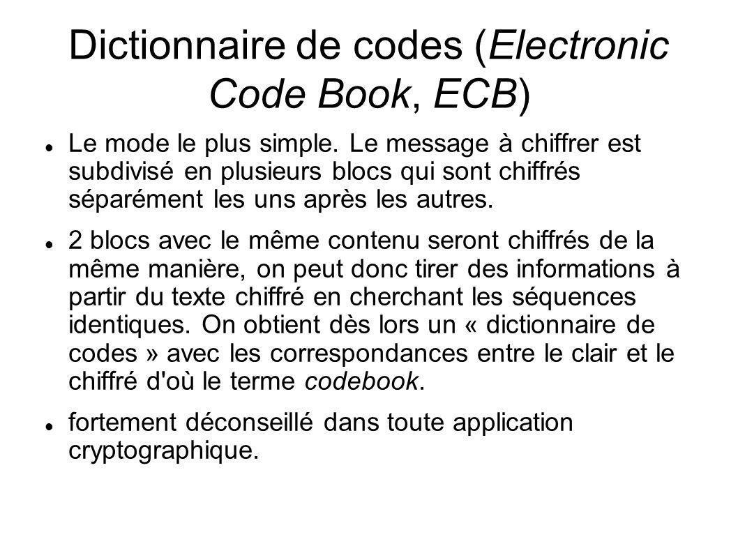 Dictionnaire de codes (Electronic Code Book, ECB) Le mode le plus simple. Le message à chiffrer est subdivisé en plusieurs blocs qui sont chiffrés sép