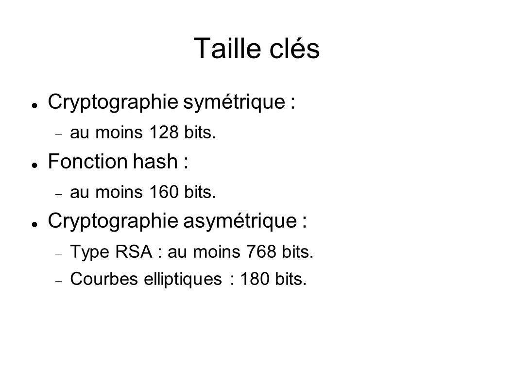 Taille clés Cryptographie symétrique : au moins 128 bits. Fonction hash : au moins 160 bits. Cryptographie asymétrique : Type RSA : au moins 768 bits.
