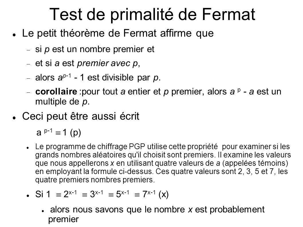 Test de primalité de Fermat Le petit théorème de Fermat affirme que si p est un nombre premier et et si a est premier avec p, alors a p-1 - 1 est divi