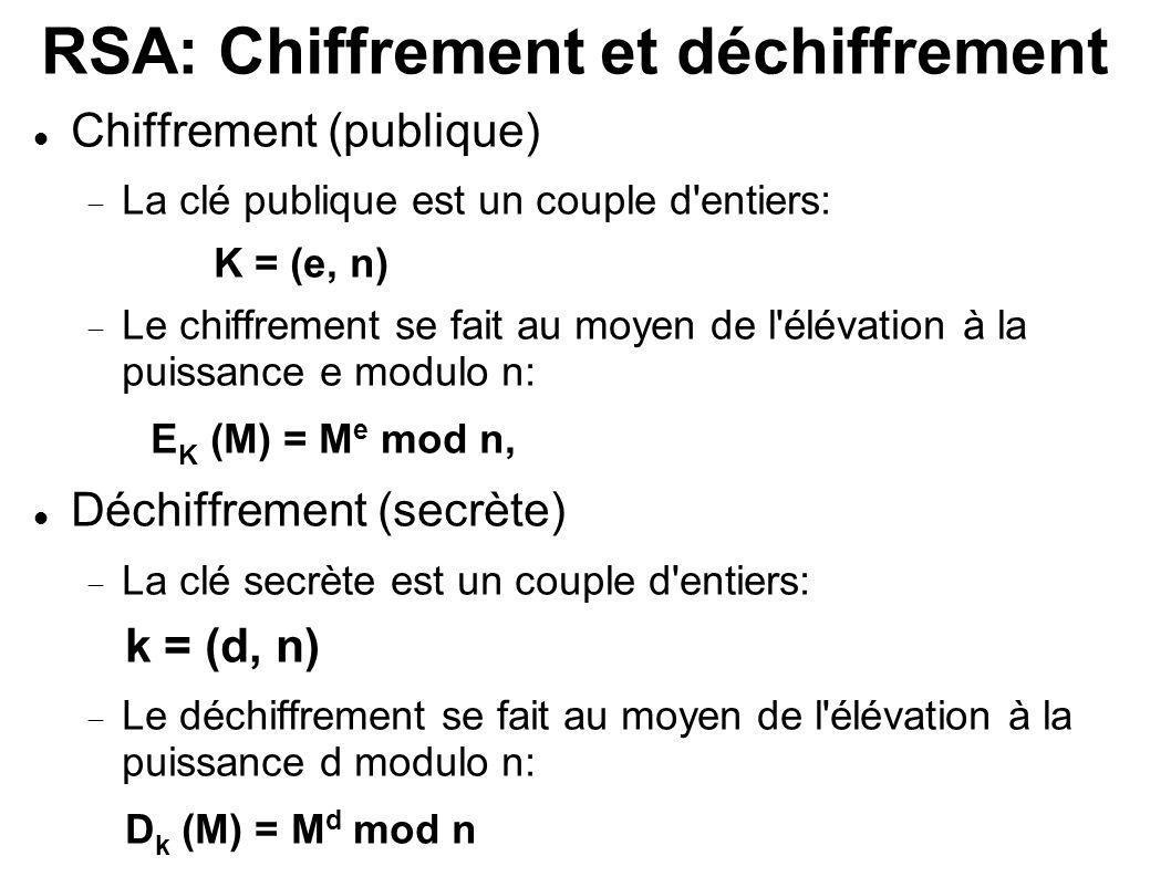 RSA: Chiffrement et déchiffrement Chiffrement (publique) La clé publique est un couple d'entiers: K = (e, n) Le chiffrement se fait au moyen de l'élév
