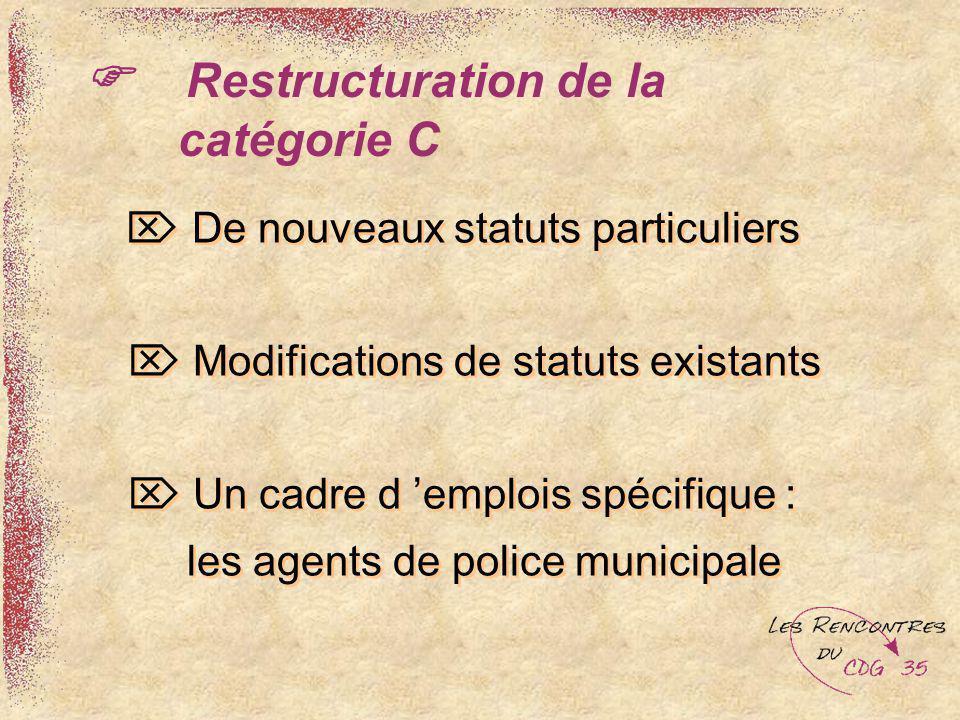 Restructuration de la catégorie C De nouveaux statuts particuliers Modifications de statuts existants Un cadre d emplois spécifique : les agents de po
